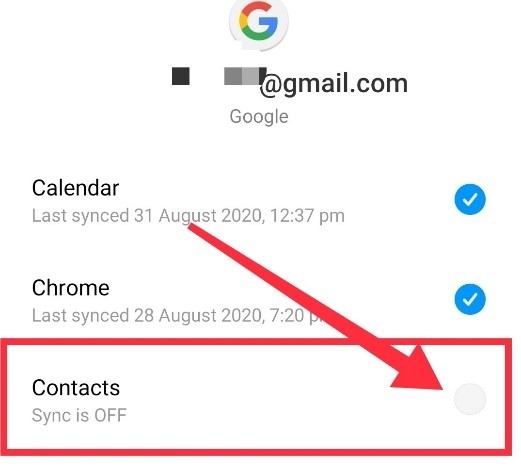 google account for contacts backup