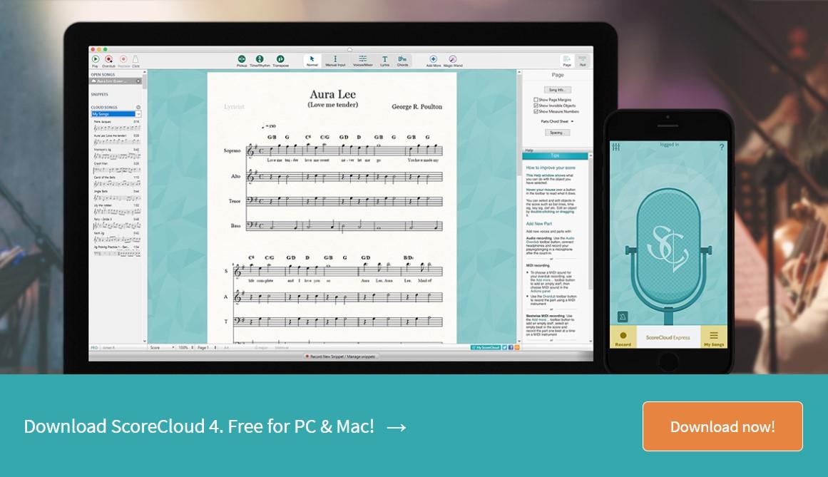 scorecloud best music notation apps